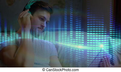 Digital interface of music equalizer against man using ...