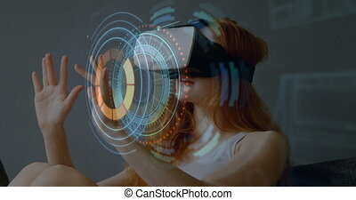 Animation of digital interface scopes scanning over woman wearing VR headset in the background. Global digital online concept digitally generated image.