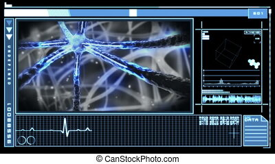Medical digital interface showing blue neuron pulsing through nervous system in blue and black