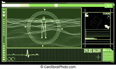 Digital interface showing revolving - Medical digital...