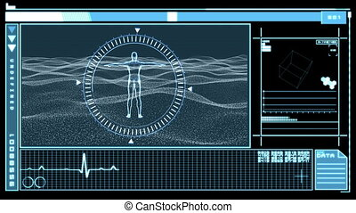Medical digital interface showing revolving figure man in dial circle on black and blue