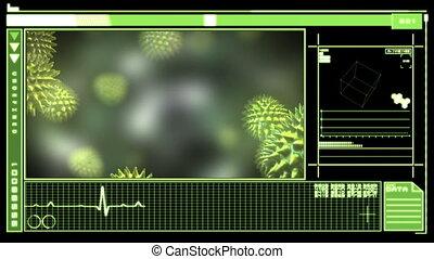 Digital interface showing virus - Medical digital interface...