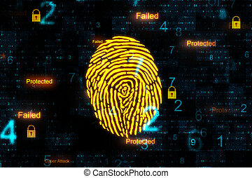 Digital internet security interface and finger print.