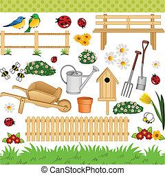 digital, jardín, collage