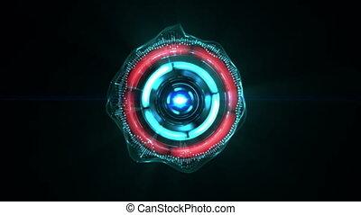 digital kaleidoscope with pulsing light rays