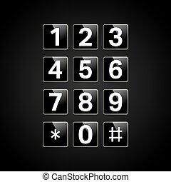 Digital keypad with numbers