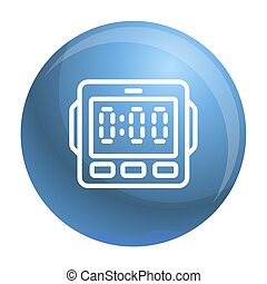 Digital kitchen timer icon, outline style