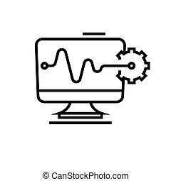 digital, línea, contorno, vector, señal, ilustración, ...