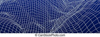 Digital landscape with mountains or hills made of line grid