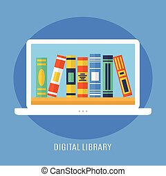 Digital Library, Online Education Concept, E-Learning