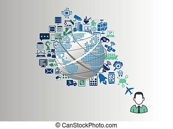 Internet of things (IOT) and digital lifestyle concept