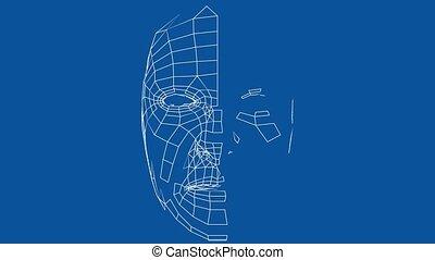 Digital lines create face shape, digital concept. Face ID technology. 3d illustration