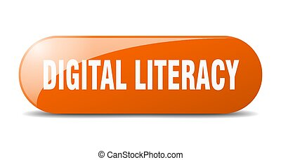 digital literacy button. sticker. banner. rounded glass sign...