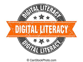 digital literacy round stamp with ribbon. label sign - ...