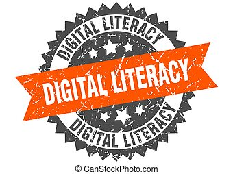 digital literacy stamp. grunge round sign with ribbon - ...