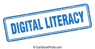 digital literacy stamp. square grunge sign on white ...