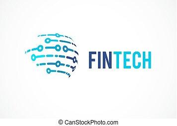 digital, logotipo, fintech, global, concepto, finanzas, ...
