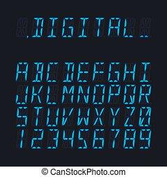 Digital luminous 16-segmented lcd display font - Digital ...
