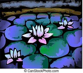 digital, målning, av, lotus, in, färga, bakgrund.