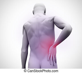 Digital man with back pain