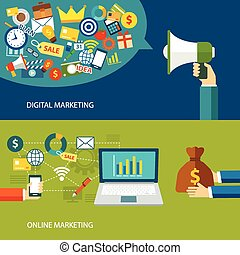 digital marketing and online marketing flat design