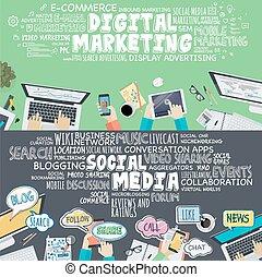 Digital marketing and social media - Set of flat design...