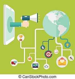 Digital marketing and Social networking conceptual. hand with loudspeaker talk to the world