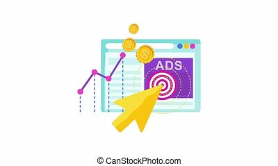 Digital marketing banner glitch icon. Infographics Icon. Strategy, management and marketing. Successful business of company in market. 2D animation.