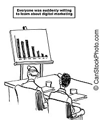 Digital Marketing - Cartoon showing business meeting and...