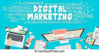 digital, marketing, conceito
