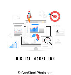 Digital marketing concept. Data analysis. SEO promotion. Vector illustration