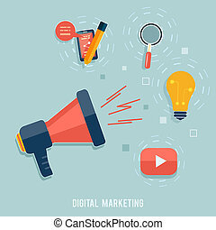Digital marketing concept. Flat design stylish megaphone...