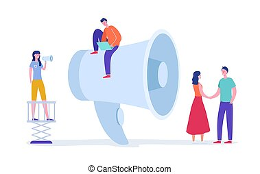 Digital Marketing Concept. Megaphone Promotion with People. Huge Loudspeaker with Tiny Characters. Social Media Communication. Vector flat cartoon illustration
