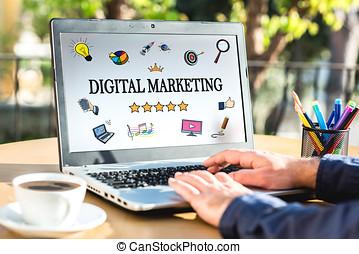 Digital Marketing Concept On Laptop Screen