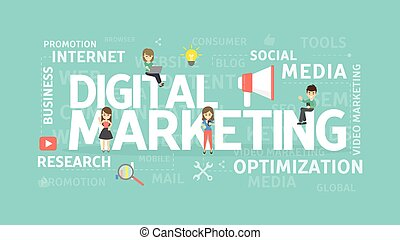 Digital marketing concept. Social media and research, ...