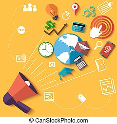 Digital marketing concept with megaphone