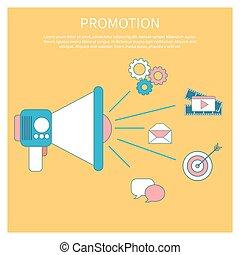 Digital marketing concept with megaphone