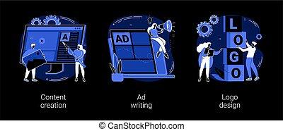 Digital marketing copywriting abstract concept vector ...
