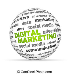 Digital marketing - Digital Marketing Word 3d sphere on...