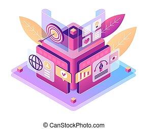 Digital marketing isometric vector illustration