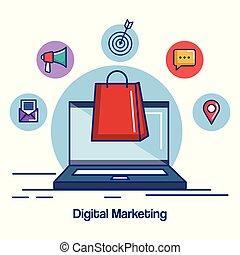 digital marketing laptop with bag gift shopping internet
