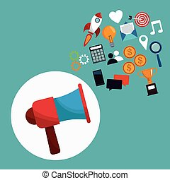 digital marketing megaphone concept