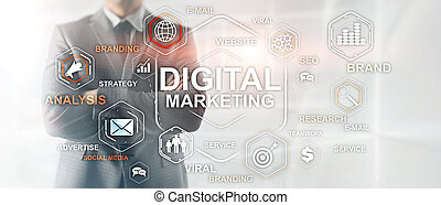 Digital Marketing. Mixed Media Business Background. Business wallpaper.