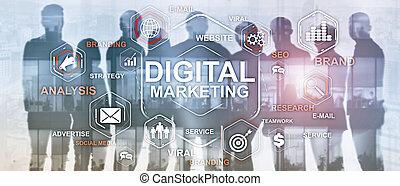 Digital Marketing. Mixed Media Business Background.