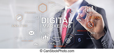 Digital Marketing. Mixed Media Business Background. Man in a jacket