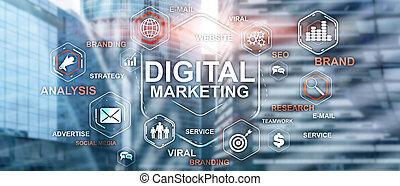 Digital Marketing. Mixed Media Business Background. Technology