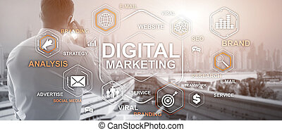 Digital Marketing. Mixed Media Business Background Wallpaper 2.0