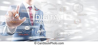 Digital Marketing. Mixed Media Business Background Wallpaper.