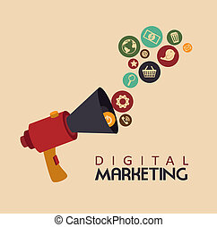 digital marketing over pink background vector illustration