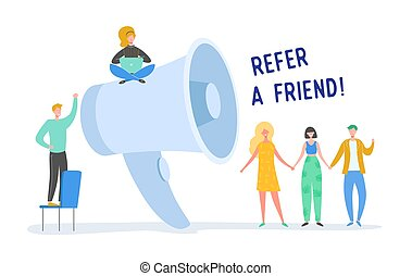 Digital Marketing Refer a Friend Concept. Megaphone Promotion with People. Huge Loudspeaker with Tiny Characters. Social Media Communication. Vector flat cartoon illustration